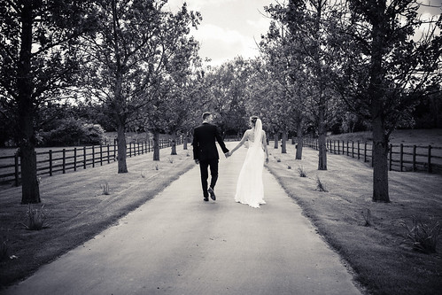 Wedding Photography - Bride And Groom Strolling On Path | by marklordphotography