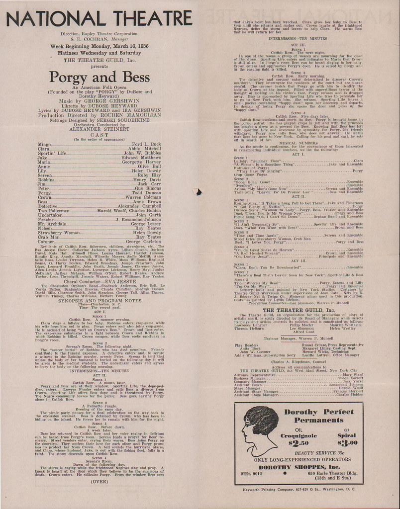 ... Porgy mixed audience: 1936 - by Washington Area