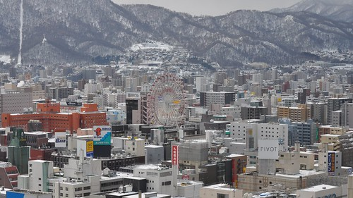 winter snow sapporo odoripark nikon japan hokkaido festival february d5000 61st 2010 travel norbesa noria ferris wheel city landscape mountains