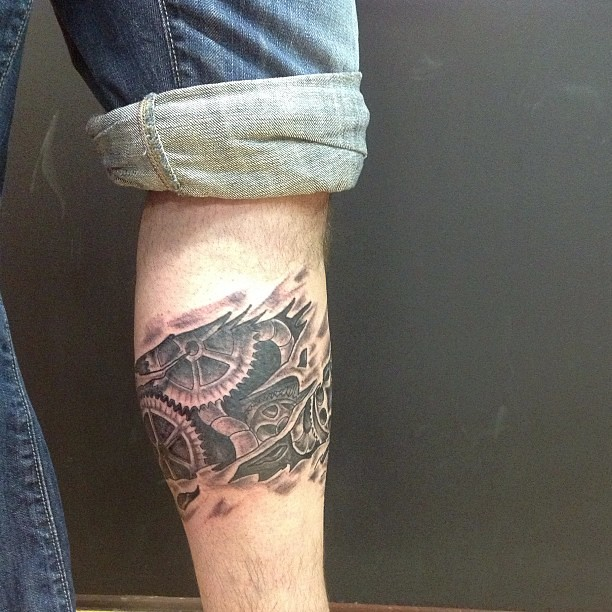 Ripped Skin Biomechanical Gears Tattoo Ideas On Leg Flickr
