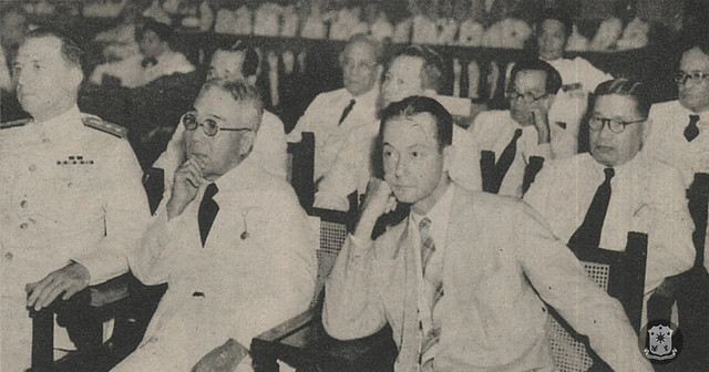US Asiatic Fleet commander Yarnell, Chief Justice Ramon Avanceña, Ambassador MacMurray listen to the Third State of the Nation Address of President Manuel L. Quezon