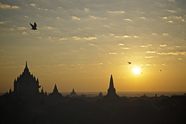 Sunrise on Bagan temples, Burma