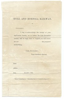 Hull and Hornsea Railway blank acceptance form to support the building of the railway 1861 | by ian.dinmore
