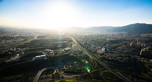 teheran tehran milad tower view panorama sunset highway freeway trafic mountain iran