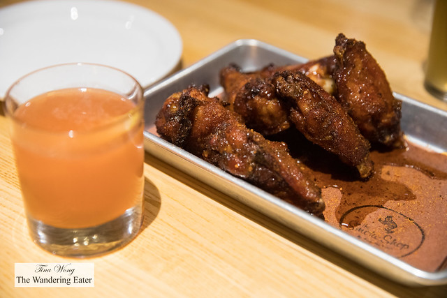 Bar chicken wings with agave and spices