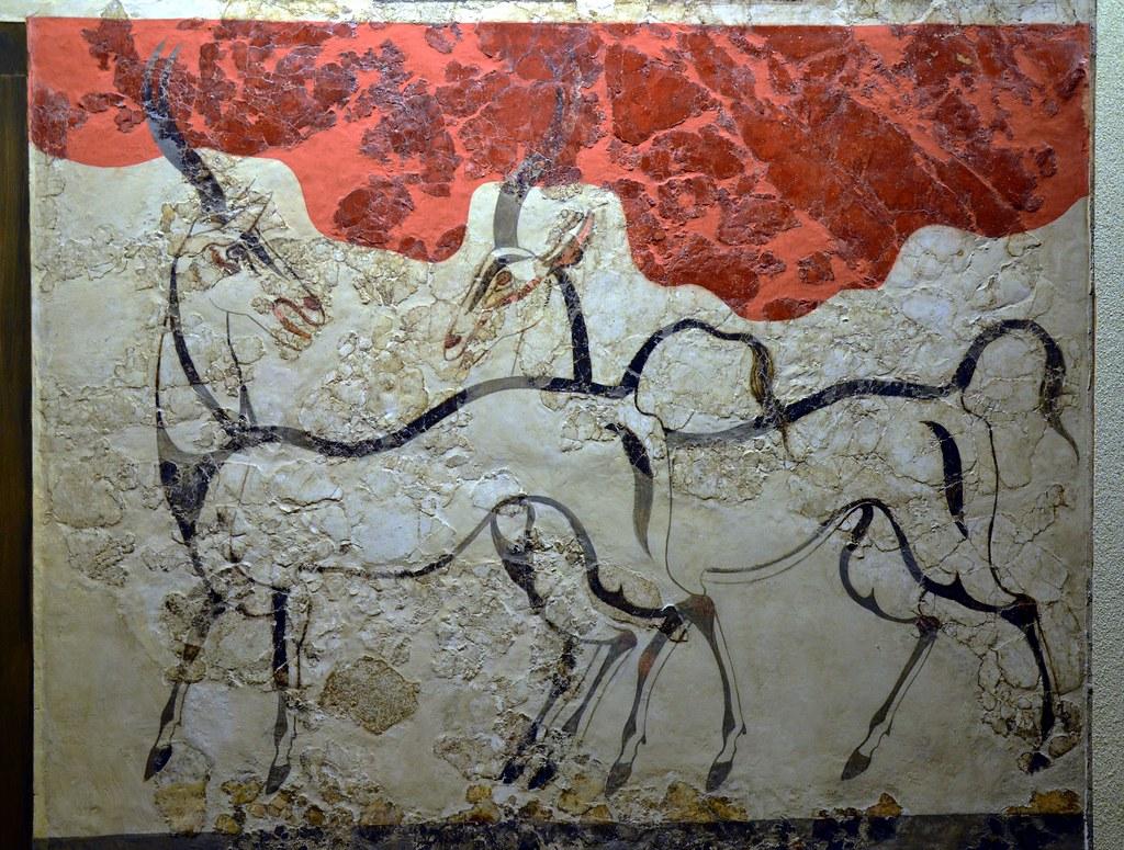 The Antelopes Fresco From Akrotiri Thera Santorini Mi