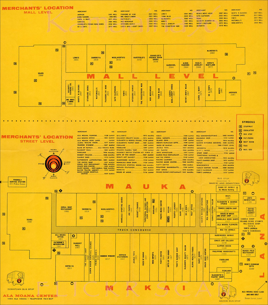 Ala Moana Mall Map Ala Moana Center Map 1960s | Flip side of the Ala Moana Shop… | Flickr