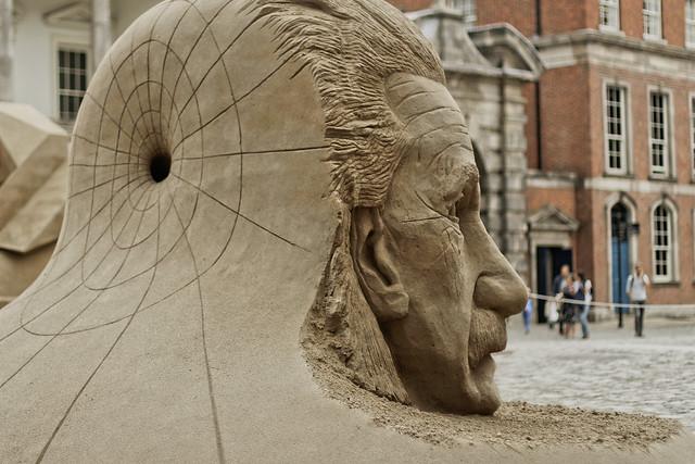 Einstein sand sculpture