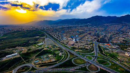 burjemilad milad tower tehran sunset iran alborzmountainrange