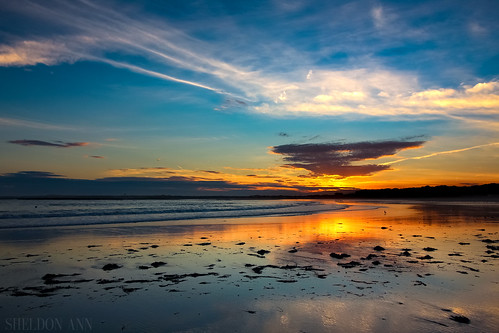 goose rocks beach maine water ocean sand sun sunset sky clouds blue orange reflections texture silhouette purple