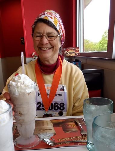 Celebrating Jackie's finish with milkshakes! | by bradipo