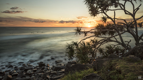 sunrise sun cloud surfers seascape pandanustree grass rocks longexposure cliff branches fruit ocean sea pacific d810 burleighheads goldcoast