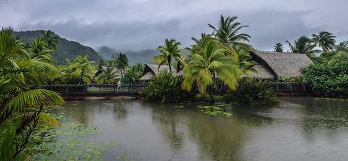Shower during the rainy season at Hotel Maitai, Huahine, French Polynesia | by Roger Green