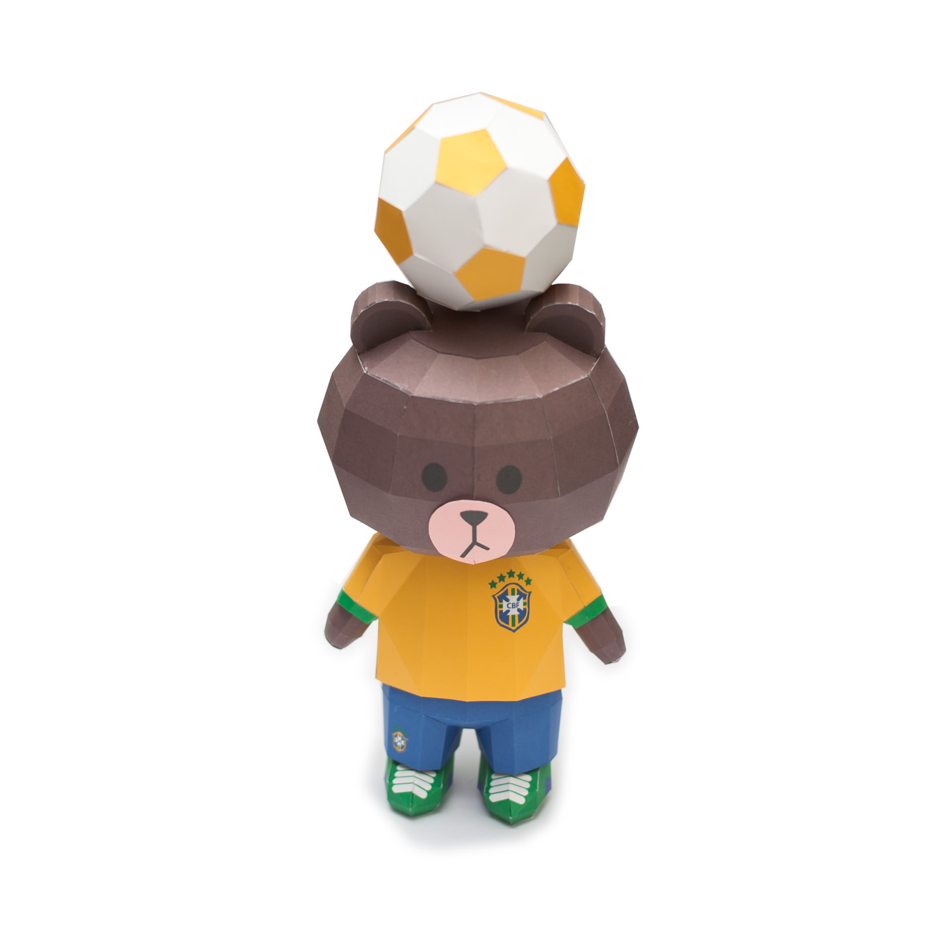 LINE Brown Bear in FIFA World Cup 2014 Brazil Uniform Papercraft Model Finished 004