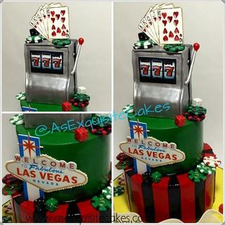 Vegas Cake #blackjack #vegas #slots #lucky7 #aec #customcake #cupcakes #asexquisitecakes #brooklyn #vegascake #birthdaycake #weddingcake   by A's Exquisite Cakes