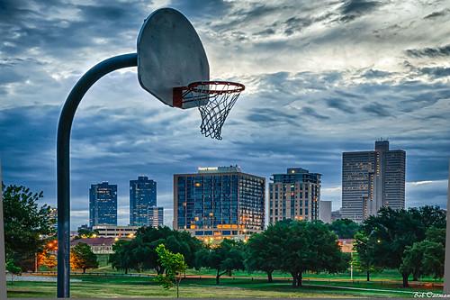 sunrise dawn trinitypark basketballgoal downtownfortworth