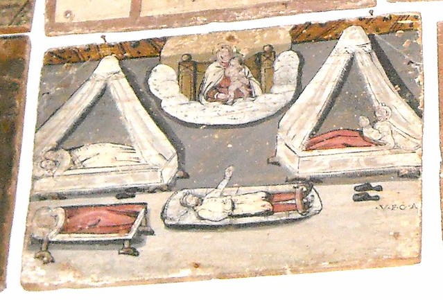 Hospital - Painted votive offering on wood (beginning 17th century) - Inscription: V.F.G.A.=VOTUM FECI ET GRATIAM ACCEPI = I DID A VOW AND RECEIVED THE GRACE - Sanctuary of Madonna dell'Arco at Sant'Anastasìa / Naples