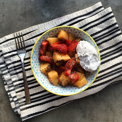 Cantaloupe, strawberries, whipped coconut cream and chia seeds. #shutterbeanbreakfast | by shutterbean