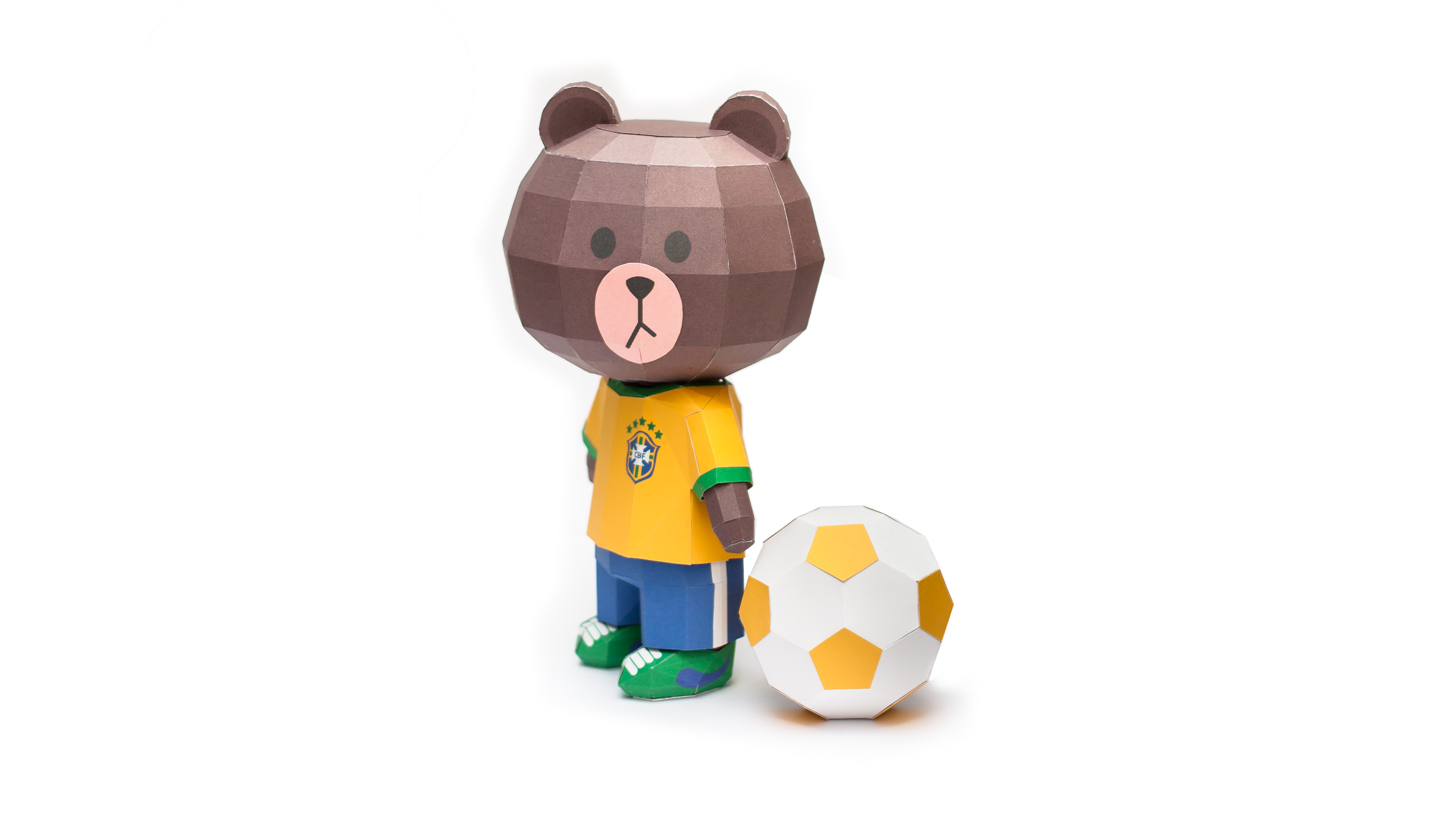 LINE Brown Bear in FIFA World Cup 2014 Brazil Uniform Papercraft Model Finished 006