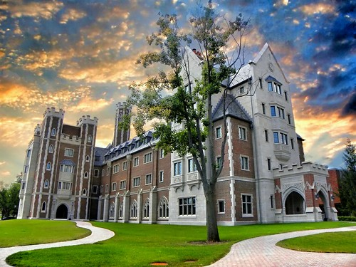 """sunset ny college architecture clouds campus hall gothic elmira dramatic historic residence meier revival """" county"""" chemung onasill"""
