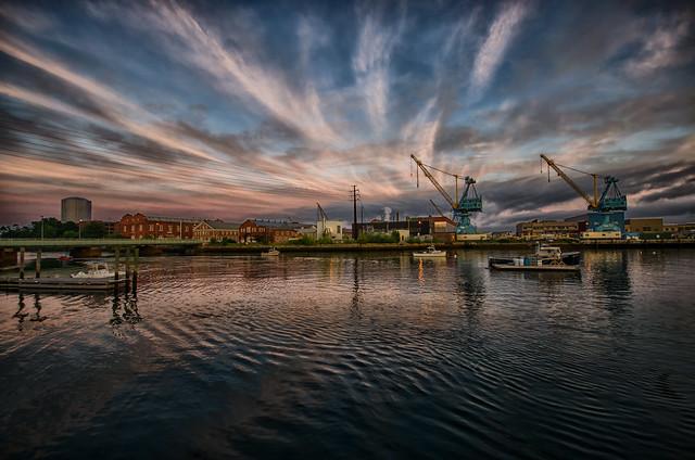 Portsmouth Naval Shipyard at sunset