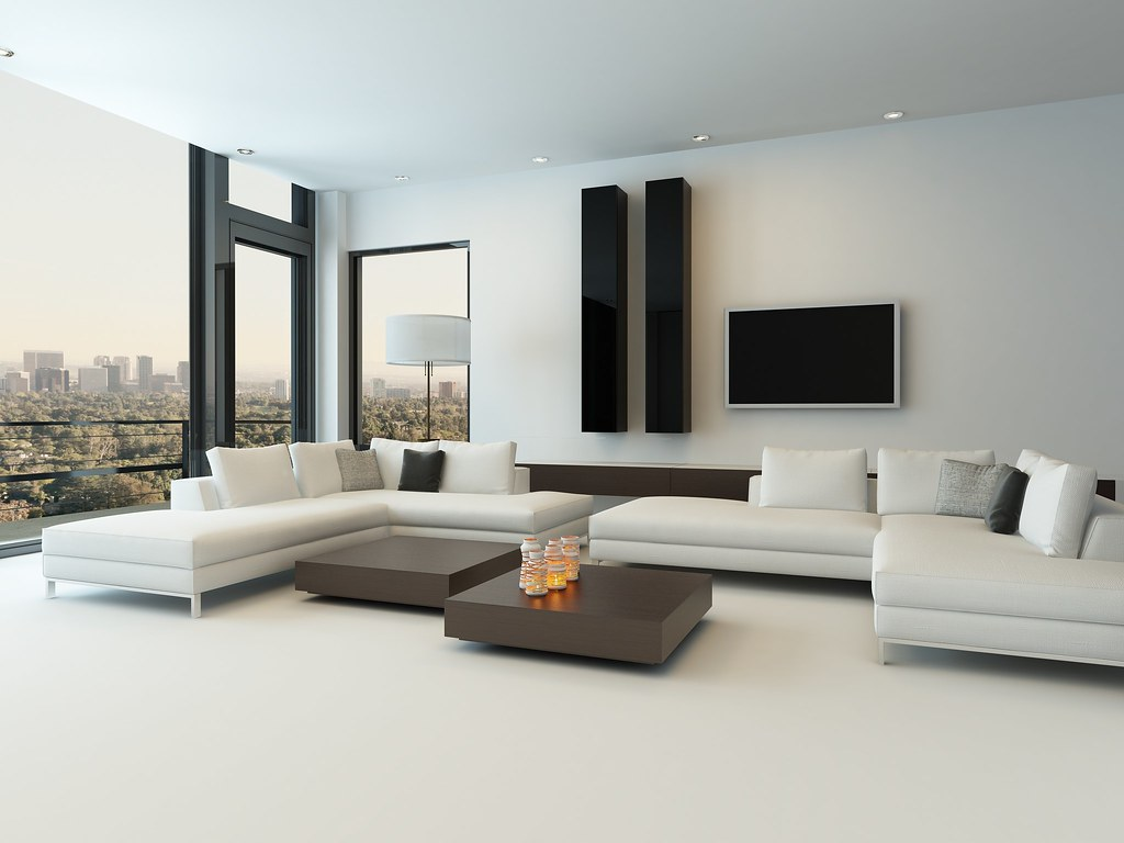 Modern White Living Room With Wooden Furniture Eternos