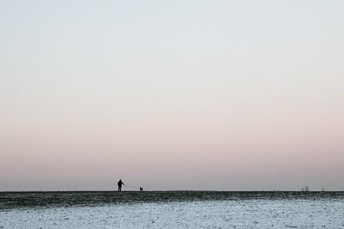 man dog sunset minimal landscape