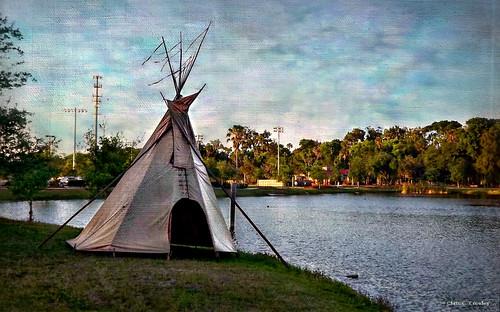 teepeetime nativeamericanfestival reedcanalpark southdaytonaflorida sunset lake teepee water scenic landscpe indian