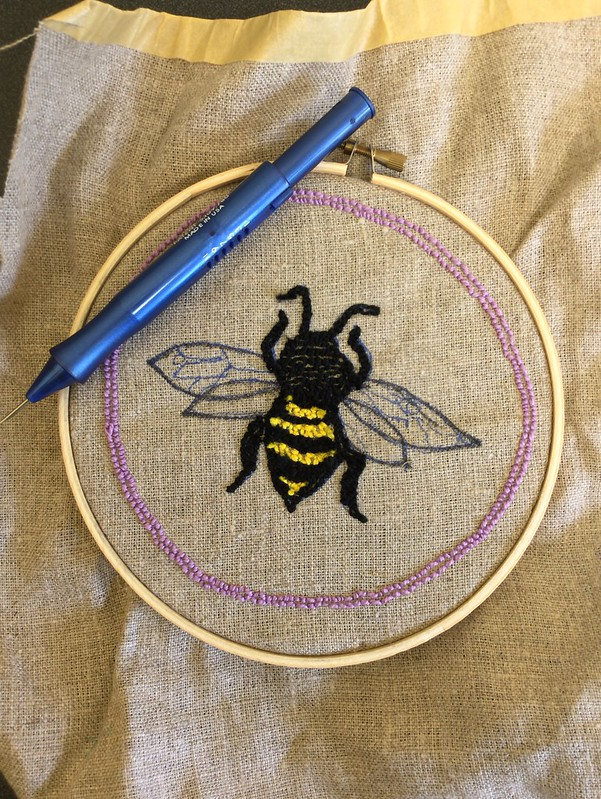 Punch needleembroidery bee