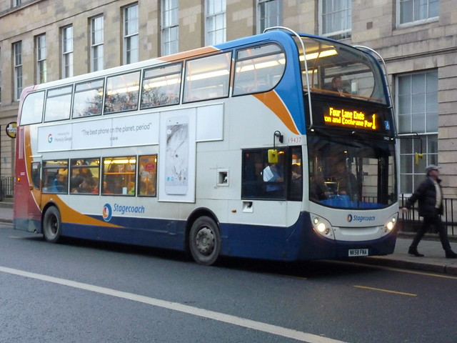 Stagecoach Trident 2 Alexander Enviro 400 NK58FNA 19437 in Newcastle operating service 1 to Four Lane End on 23 December 2016.