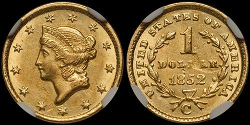 1852-C $1.00 NGC MS61 | by RareGoldCoins.com