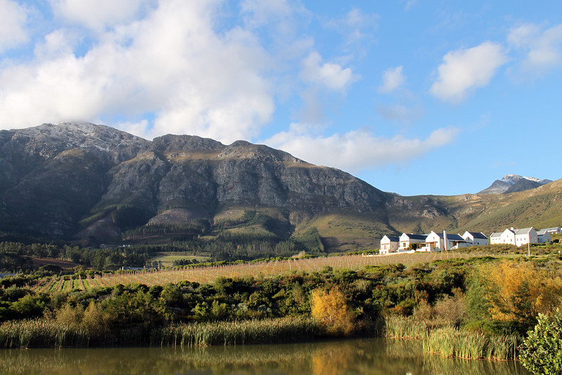 Franschhoek mountains dusted with snow