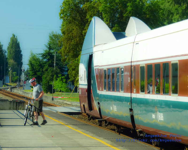 Offloading a Bicycle from Amtrak Cascades at Mt. Vernon...