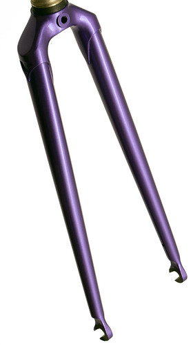 <p>Gunnar Track Star Fork in Starlight Purple - 1 1/8&quot; steerer, oval blades. straight blade with brake holes, this fork can be ridden both on and off the ttrack.</p>