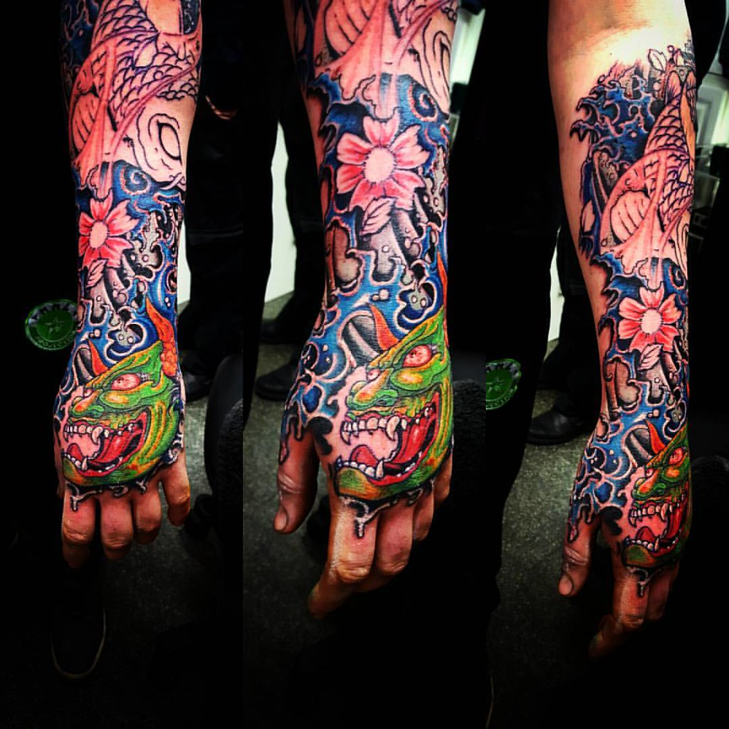 31cb53eb8c0b5 ... Japanese sleeve with hannya mask and KOI by Sean at  www.adventuretattoos.com #