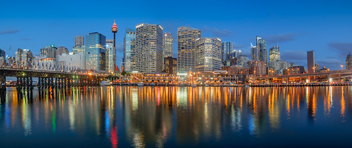sydney nsw australia city cityscape downtown cbd water harbour shore darling darlingharbour stunning beautiful wow amazing photo photogenic photography pano panorama panoramic olympus olympusem10 olympusomd reflection longexposure sunset sundown night dark lights light skyscraper building pyrmont skyline