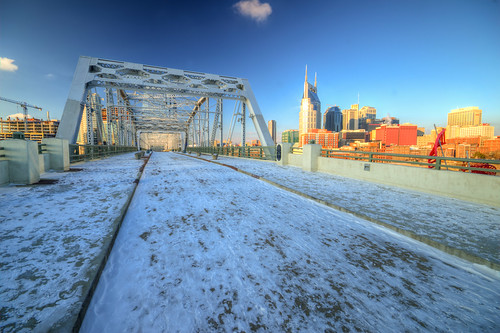 john seigenthaler pedestrian bridge nashville tennessee morning snow skyline bridging sunrise tn nashvilletennessee