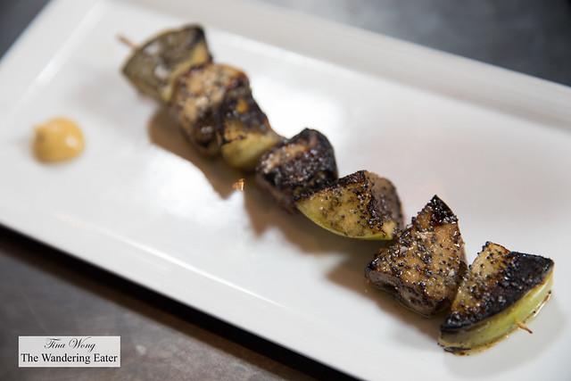 Foie gras skewer with roast apple