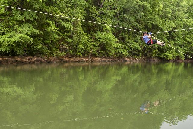 Tyrolean traverse, Jamie Averbeck, CaverDash 2014, Van Buren County, Tennessee 3