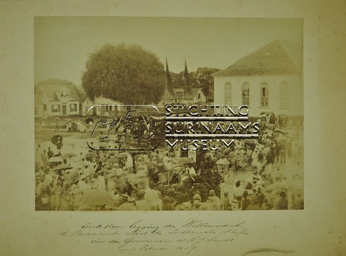 Eerste steenlegging Willemschool   by Stichting Surinaams Museum