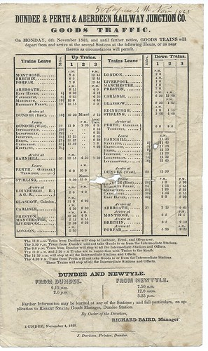 Dundee & Perth & Aberdeen Railway Junction goods trains timetable 1848 | by ian.dinmore