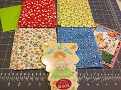Swap gift from @oneoldgoat1962 thank you so much!  Love the fat quarters and the cute notepad!