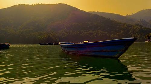 nepal pokhara nature landscape arifin boat river lake water hill sunset