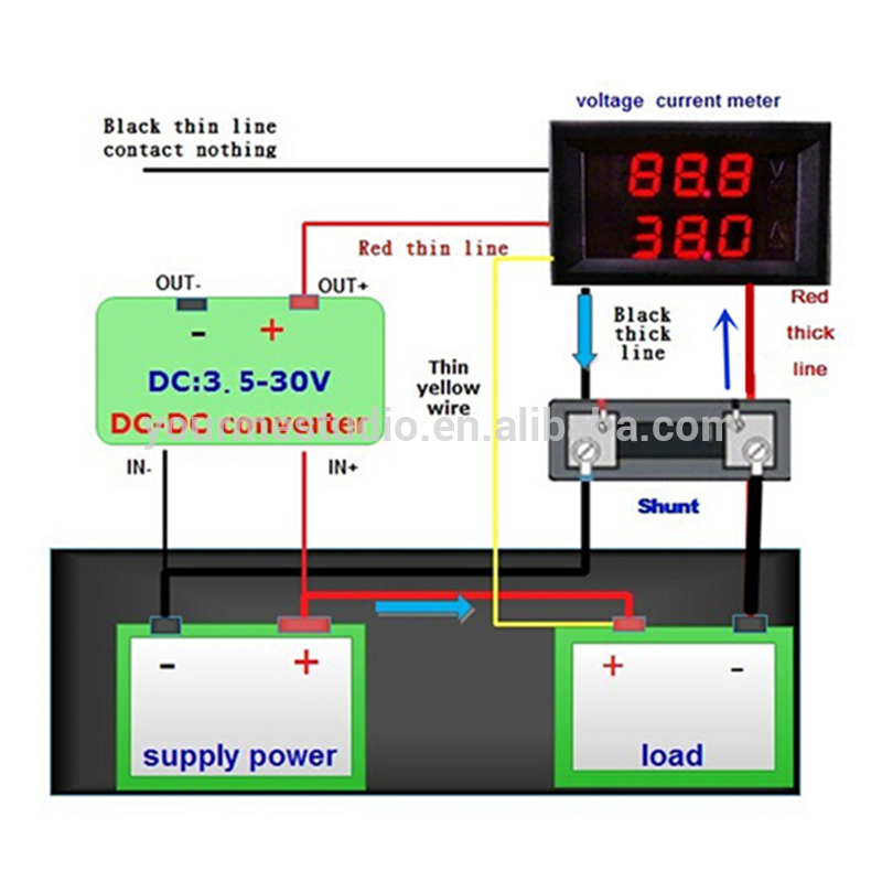 voltmeter and ammeter 5 wires using shunt wiring diagram voltmeter wiring instructions digital current meter, drok ammeter dc