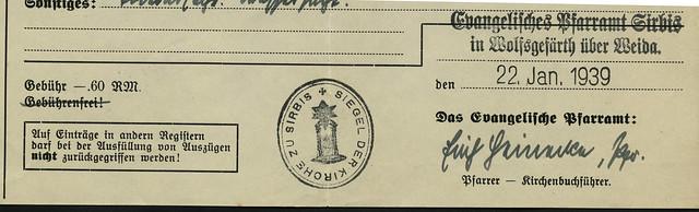 Siegel der Kirche zu Sirbis, 1939