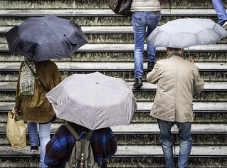 People with Umbrellas on Stairs | by kohlmann.sascha