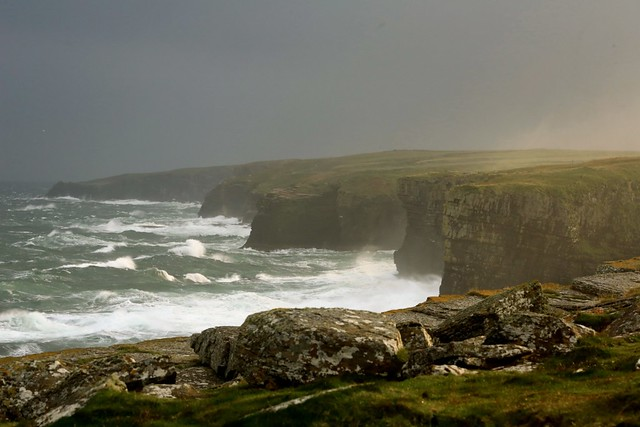 Dramatic Coastline Stormy Seas Castle of Old Wick Coast Caithness Scotland