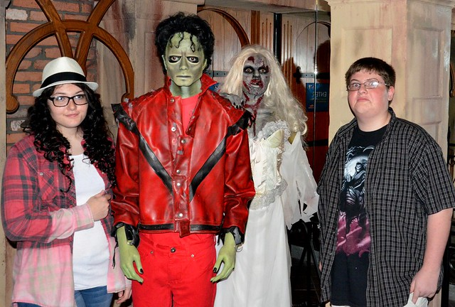 My niece Aurora and nephew Elijah pose with Michael Jackson's Thriller