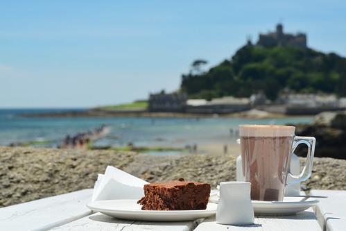 england beach cornwall drink chocolate tide brownie causeway stmichaelsmount marazion