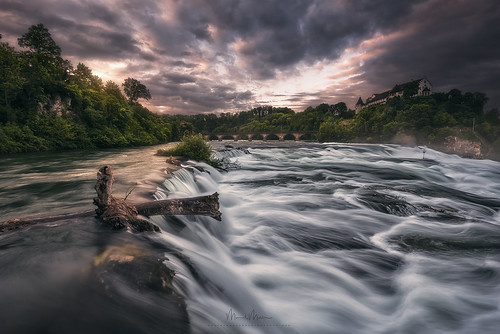 rheinfall schaffhausen switzerland darkmood darkness drama enchanting magic forest grass rocks stones trees woods river water waterfall clouds cloudy sunrise ch